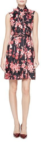 Kate Spade Kate Spade New York Sleeveless Tie-Neck Floral Silk Pleated Dress, Black