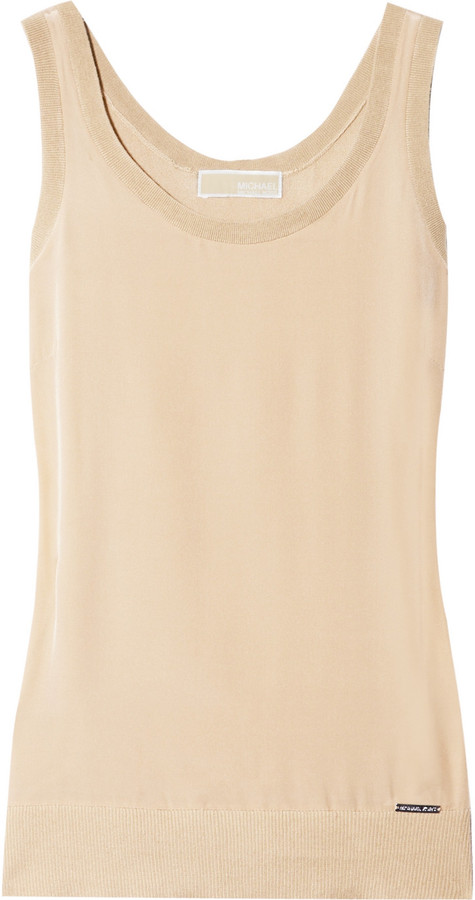 MICHAEL Michael Kors Silk and knitted cotton-blend tank