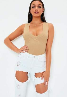 Missguided Camel Ultimate Plunge Knit Sleeveless Ribbed Bodysuit