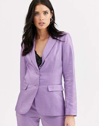 Fashion Union tailored blazer coord with pocket detail in metallic jacquard