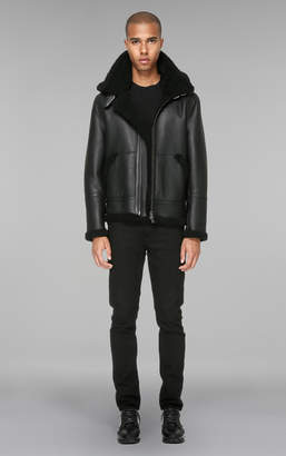 Mackage REY-SP hip length sheepskin jacket with removable hood