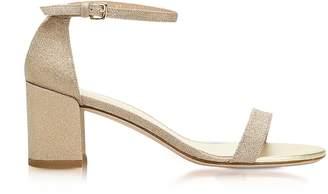Stuart Weitzman Simple Gold Glitter Mid Heel Sandals