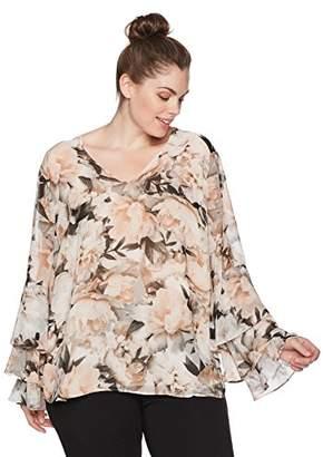 Calvin Klein Women's Plus Size Printed Ruffle Long Sleeve