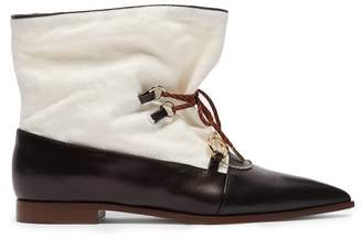 J.W.Anderson Twisted Plaque Leather And Canvas Ankle Boots - Womens - Black Cream