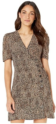1 STATE 1.STATE Short Sleeve Asymmetrical Button Front Leopard Muse Dress