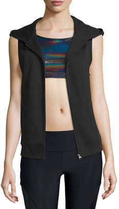Onzie Sleeveless Front-Zip Sport Hoodie Vest, Black