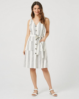 Le Château Stripe Linen Blend Button-Front Dress