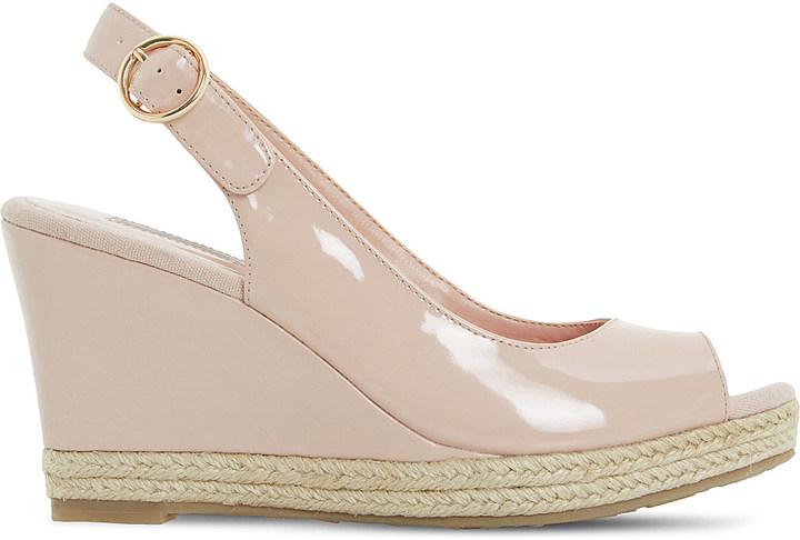Dune Klick espadrille trim leather sandal