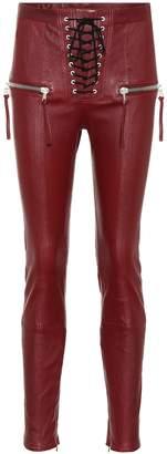 Unravel Lace-up leather pants
