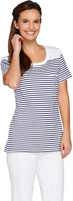 C. Wonder Short Sleeve Striped Knit T-Shirt with Pocket