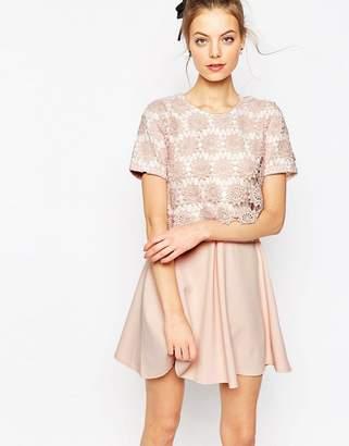 Asos DESIGN Overlay Lace Dress With Scuba Skirt