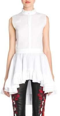 Alexander McQueen Sleeveless Ruffle Poplin Shirt