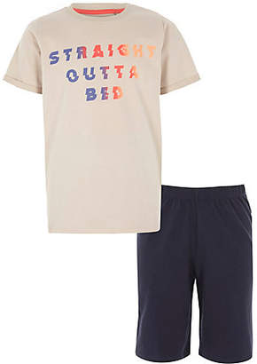 River Island Boys stone 'straight outta bed' pajama set