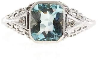 Art Deco 14K White Gold 1.58ct Aqua & Diamond 0.02ct Filigree Ring Size 7.25
