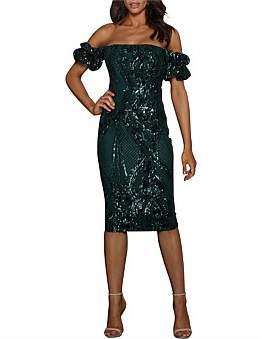 Elle Zeitoune Katherine Off The Shoulder Sequin Dress