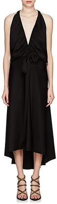 Chloé Women's Gathered-Neck Satin Halter Gown - Black