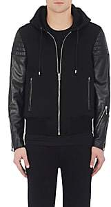 Givenchy Men's Neoprene & Quilted Leather Hooded Jacket - Black