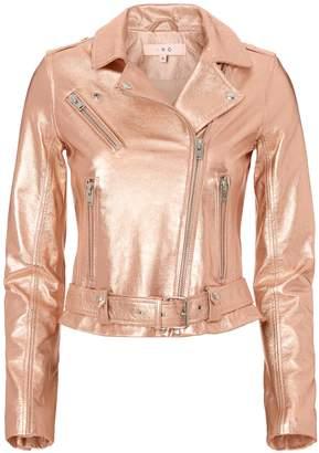 IRO Brooklyn Rose Gold Leather Moto Jacket