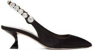 Miu Miu Black Crystal Slingback Heels