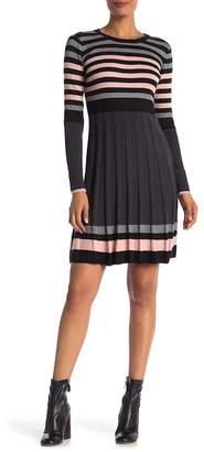 Eliza J Long Sleeve Stripe Pleated Knit Dress