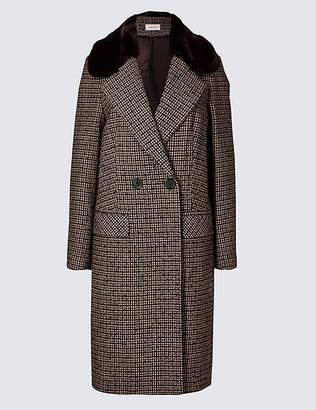 Marks and Spencer Checked Faux Fur Double Breasted Coat