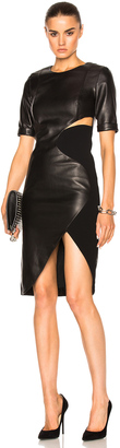 Mugler Soft Leather & Technical Cady Dress $3,150 thestylecure.com