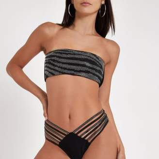 River Island Black bandeau sequin embellished bikini top