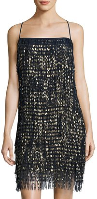 Nicole Miller New York Spaghetti-Strap Fringe Cocktail Dress, Blue/Gold $139 thestylecure.com