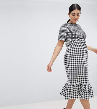 Asos DESIGN Curve midi dress with pep hem in contrast check