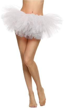 Cocobla Women's Classic 8 Layered Dance Ballet Short Pleated Tulle Tutu Skirt (Rainbow Led Light,)