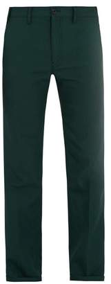 Prada - Straight Leg Twill Trousers - Mens - Green