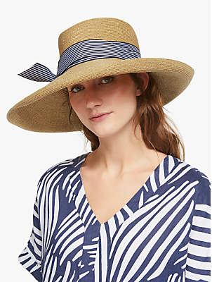 a1011520 John Lewis & Partners Braid Stripe Floppy Sun Hat, Natural