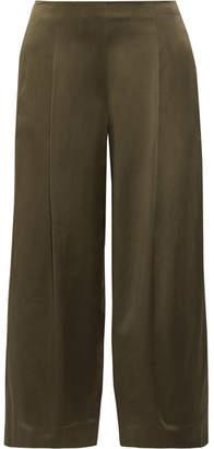 Theory Zavabell Silk-satin Wide-leg Pants - Army green