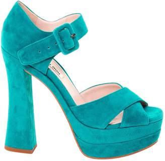 Miu Miu Green Velvet Sandals