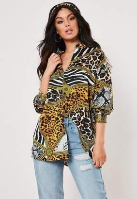 Missguided Black Animal Print Satin Shirt