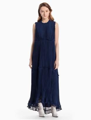 Calvin Klein crinkle silk sleeveless dress
