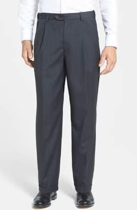 Berle Self Sizer Waist Pleated Wool Gabardine Trousers