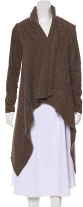 AllSaints Wool Leather-Trimmed Cardigan