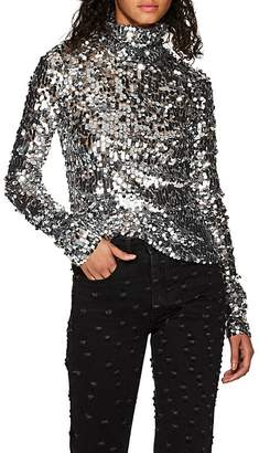 MM6 MAISON MARGIELA Women's Sequined Half-Zip Top