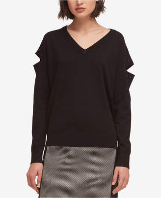 DKNY Studded Cutout Sweater, Created for Macy's