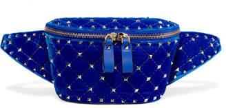 Valentino Garavani The Rockstud Quilted Velvet Belt Bag - Bright blue