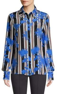 Diane von Furstenberg Stripe Button-Down Silk Shirt