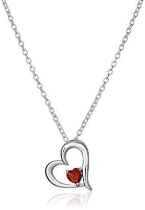 Hallmark Jewelry Sterling Open Heart with Garnet Red Cubic Zirconia Pendant Necklace