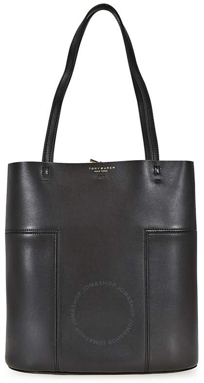 Tory Burch Block-T Leather Medium Tote - Black - ONE COLOR - STYLE
