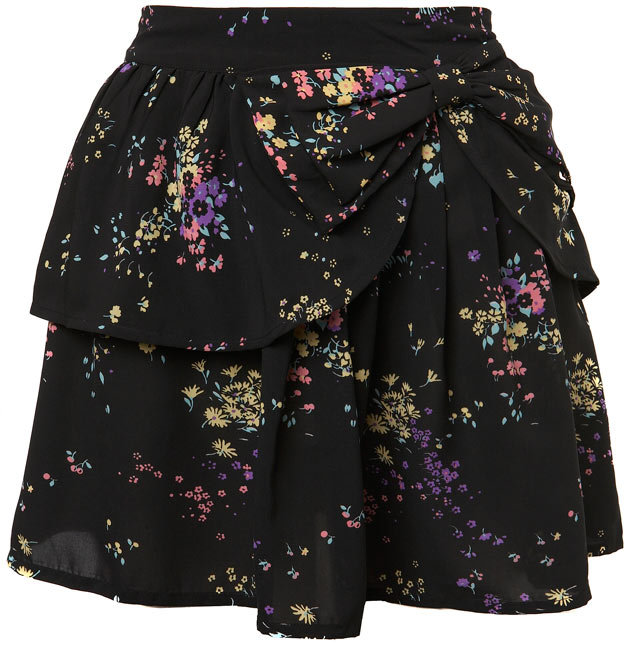 Floral Print Bow Detail Skirt