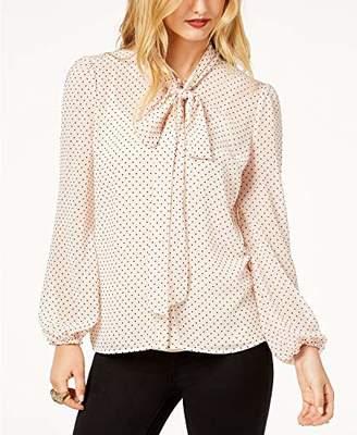 Rachel Zoe $99 Womens New 1010 Pink Polka Dot Tie Long Sleeve Blouse S B+B