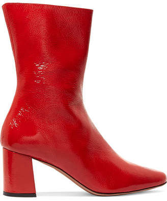Trademark - Mira Patent Textured-leather Ankle Boots