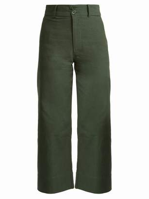 Apiece Apart Merida Cotton Cropped Trousers - Womens - Khaki