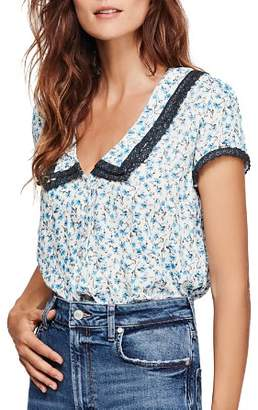 Free People Ana Lace-Trim Floral Print Blouse