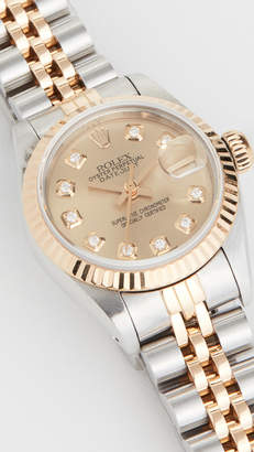 Rolex Pre-Owned Ladies Champagne Diamond Dial, Fluted Bezel, Oyster Band